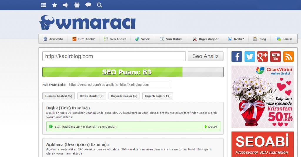 wm araci seo analiz seo araçları kadir blog seo hizmeti