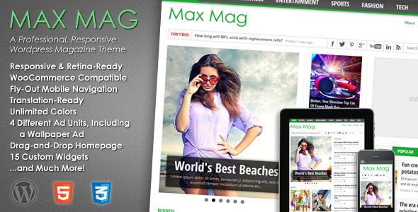 Max Mag - Responsive WordPress Magazine Theme kadir blog wordpress webmaster