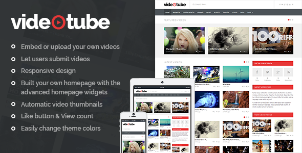 VideoTube - A Responsive Video WordPress Theme kadir blog wordpress haber temaları